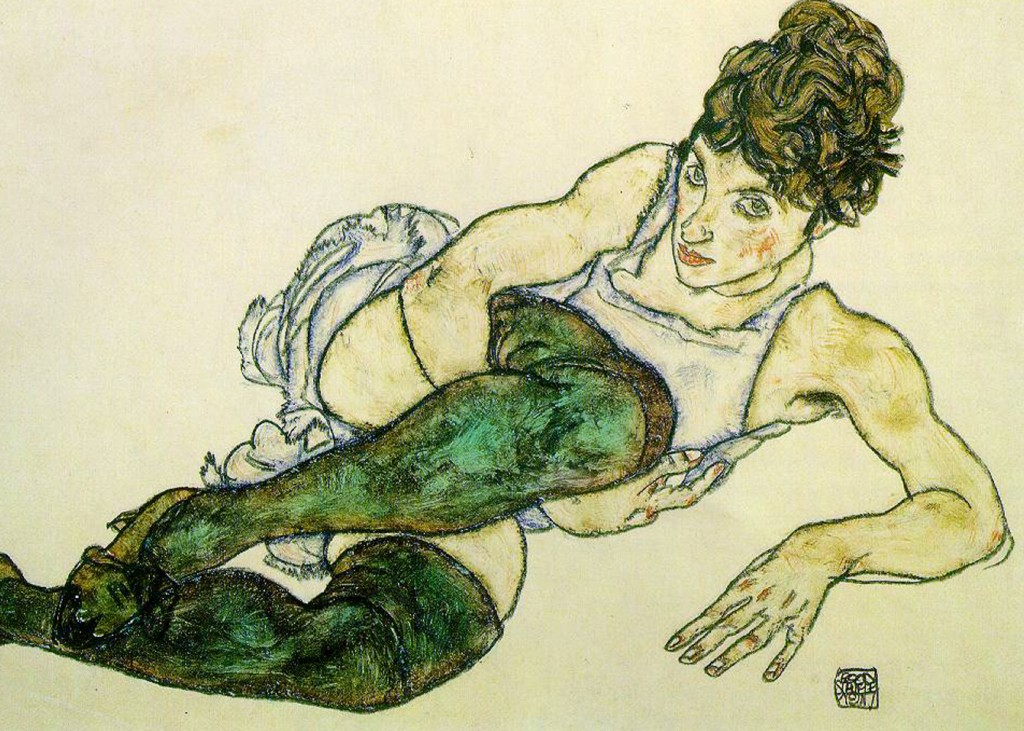 Egon Schiele - Green Stockings