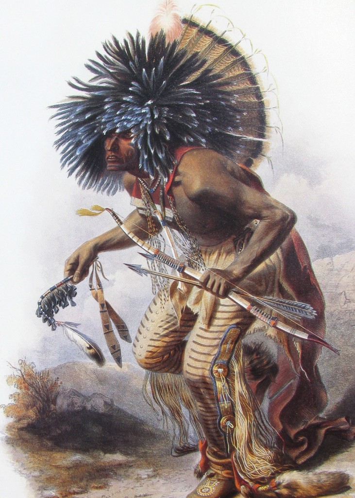Karl Bodmer - Moennitarri Warrior doing Dog Dance